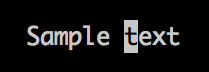 VIM cursor on letter t