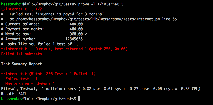 Perl test completed with fail