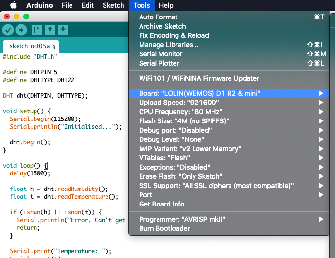 Arduino IDE -> Tools -> Board