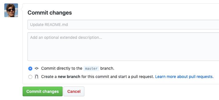 GitHub web interface commit interface