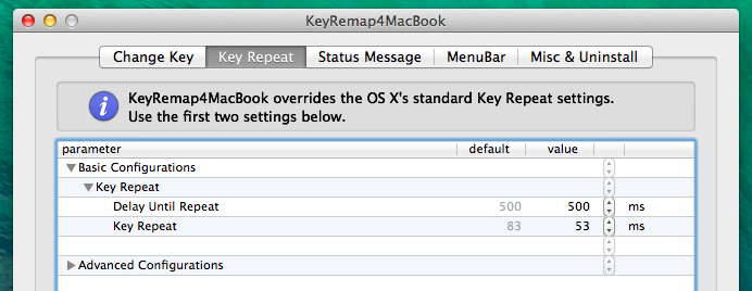 Настройки Key Repeat в программе KeyRemap4MacBook